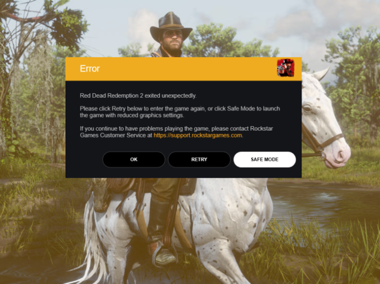 RDR2 error, crash on a PC?? Here's what Rockstar recommends.