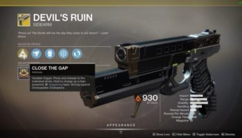 How to get an exotic Devil's Ruins gun in Destiny 2